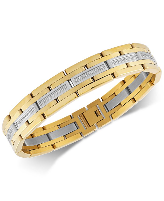 Esquire Men's Jewelry Diamond Link Bracelet (1/2 ct. t.w.) in Stainless Steel & Gold Ion-Plate, Created for Macy's & Reviews - Bracelets - Jewelry & Watches - Macy's