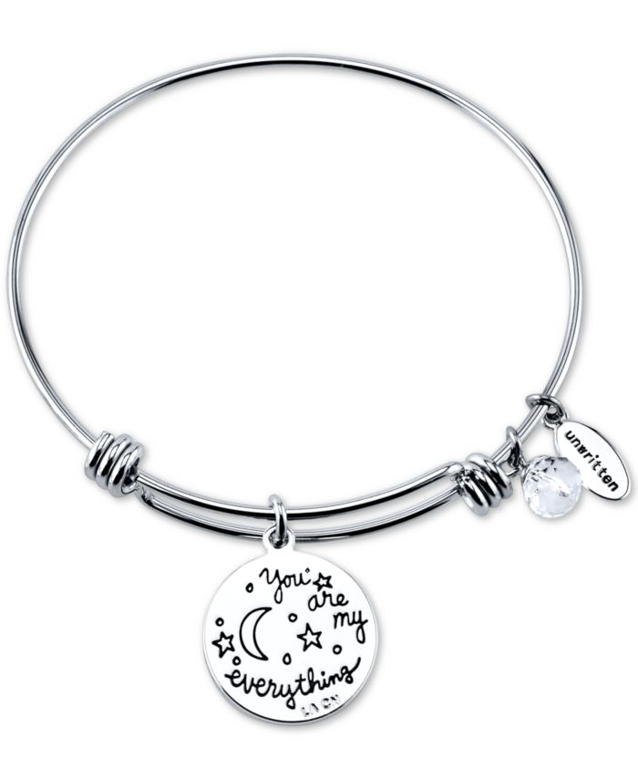 """Unwritten """"You Are My Everything"""" Moon and Star Multi-Charm Bangle Bracelet in Stainless Steel and Rose Gold-Tone Stainless Steel Silver Plated Charms & Reviews - Bracelets - Jewelry & Watches - Macy's"""