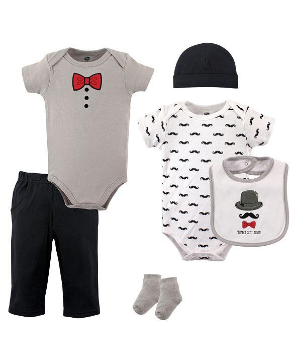 Hudson Baby Bodysuits, Pants, Socks, Bibs and Cap, 6-Piece Set, 0-12 Months