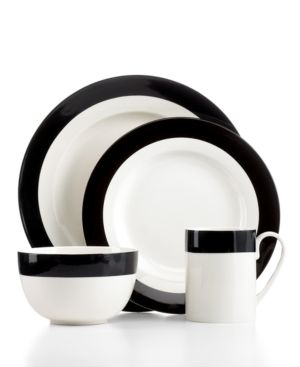 Martha Stewart Collection Classic Band Black 4-Piece Place Setting