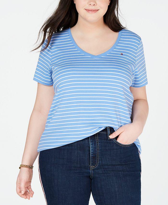 Tommy Hilfiger - Plus Size Striped Cotton V-Neck T-Shirt
