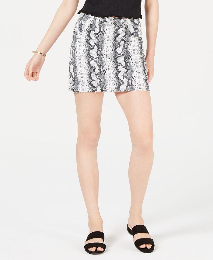 Tinseltown - Juniors' Snake-Embossed Denim Mini Skirt