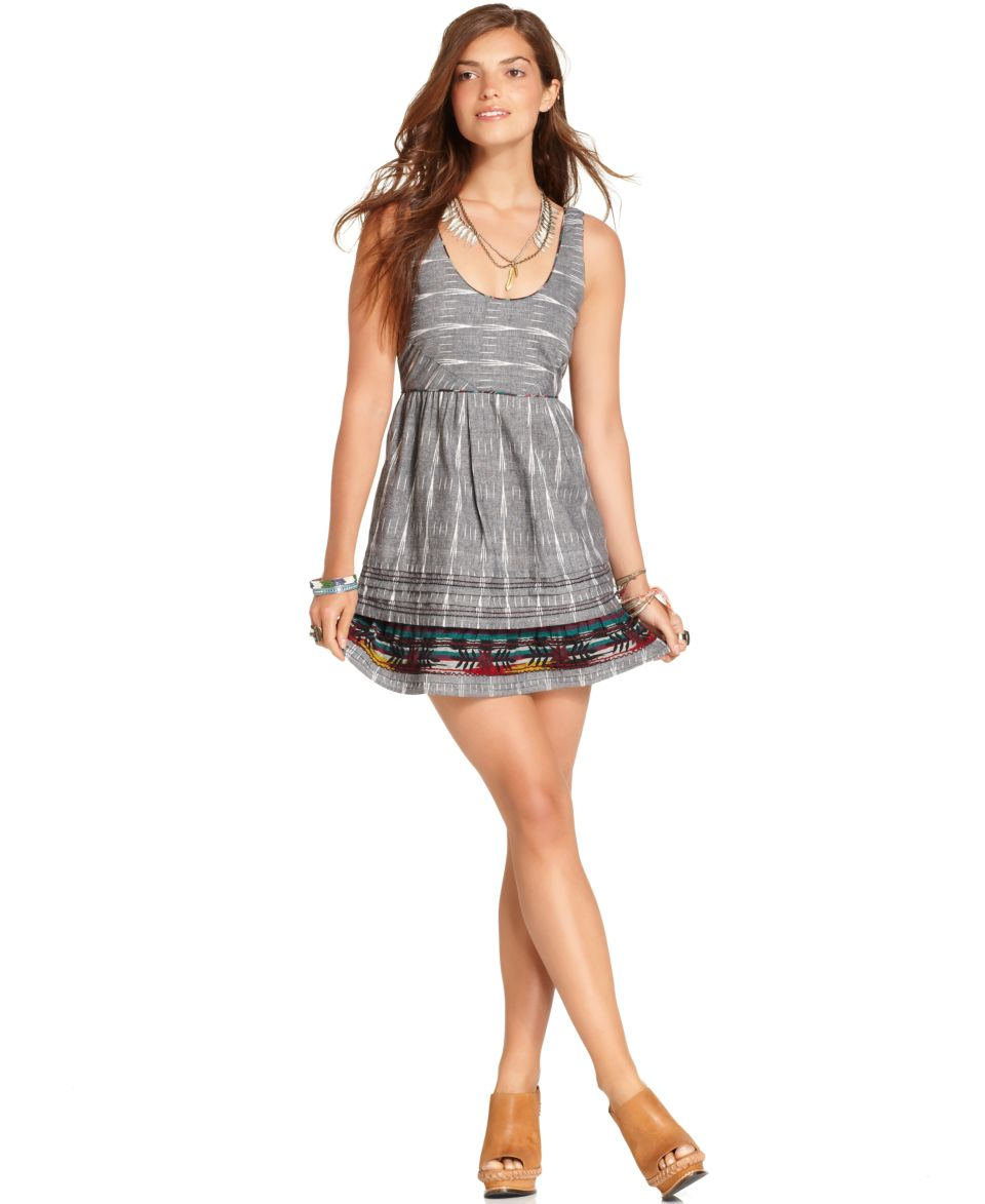 Free People Dress, Sleeveless Scoop Neck Printed A Line