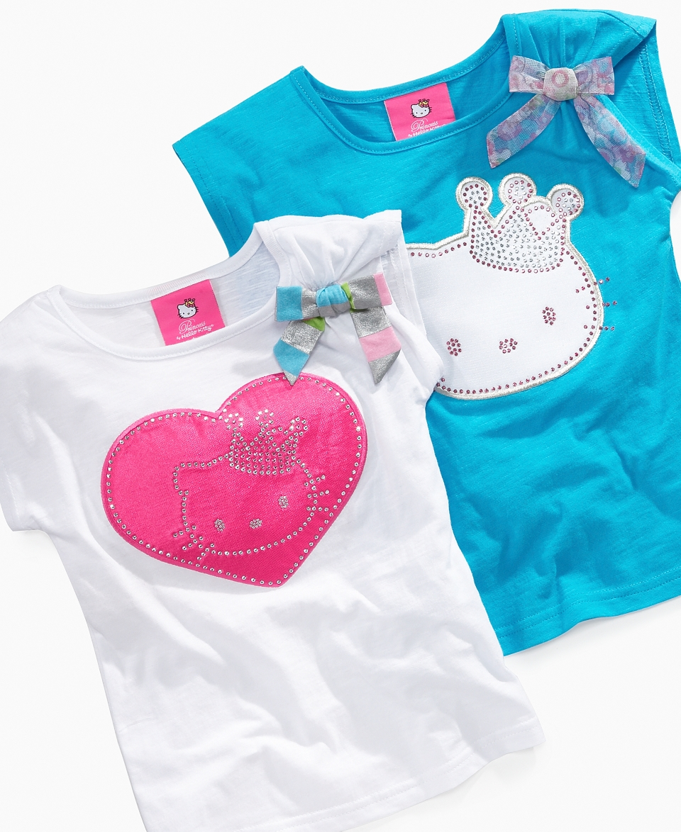 NEW Hello Kitty Kids Shirt, Little Girls Princess Applique Tee