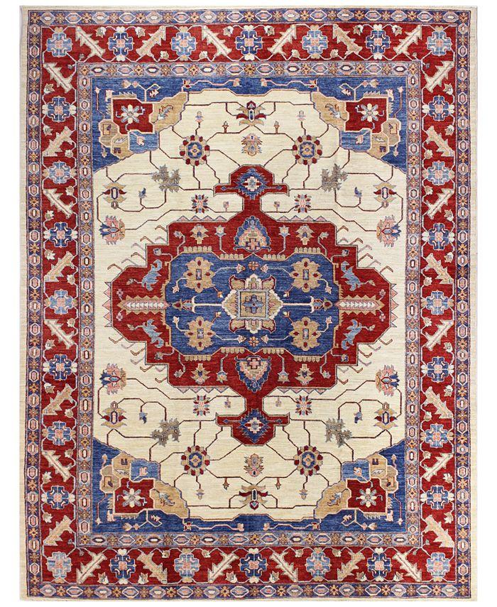 "BB Rugs - Fine Afghan Kazak 595344 Ivory 7'4"" x 9'10"" Area Rug"