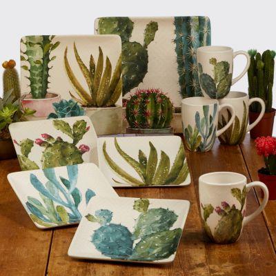 Cactus Verde 4-Pc. Square Dessert Plate