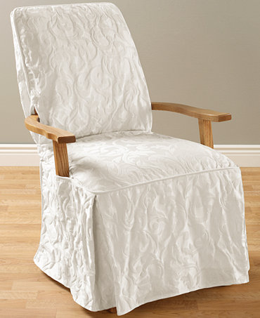 sure fit matelasse damask dining room chair slipcover slipcovers