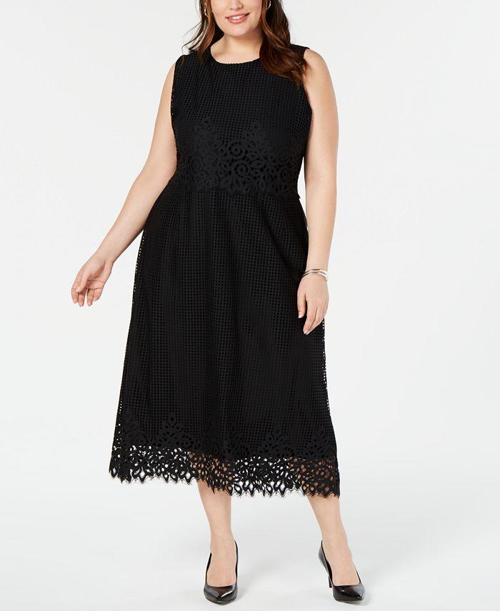 Alfani - Plus Size Geo-Lace Midi Dress