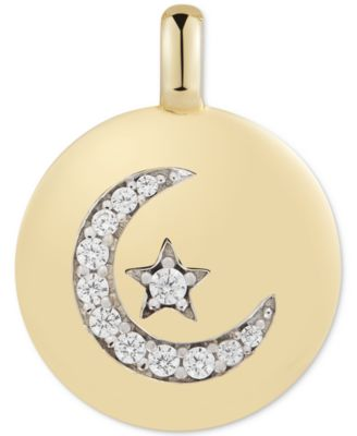 """Swarovski Zirconia Moon & Star """"Follow your Dreams"""" Reversible Charm Pendant in 14k Gold-Plated Sterling Silver"""
