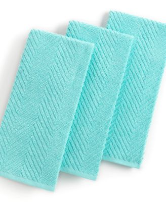 Martha Stewart Collection Kitchen Towels, Set of 3 Textured Terry Aqua