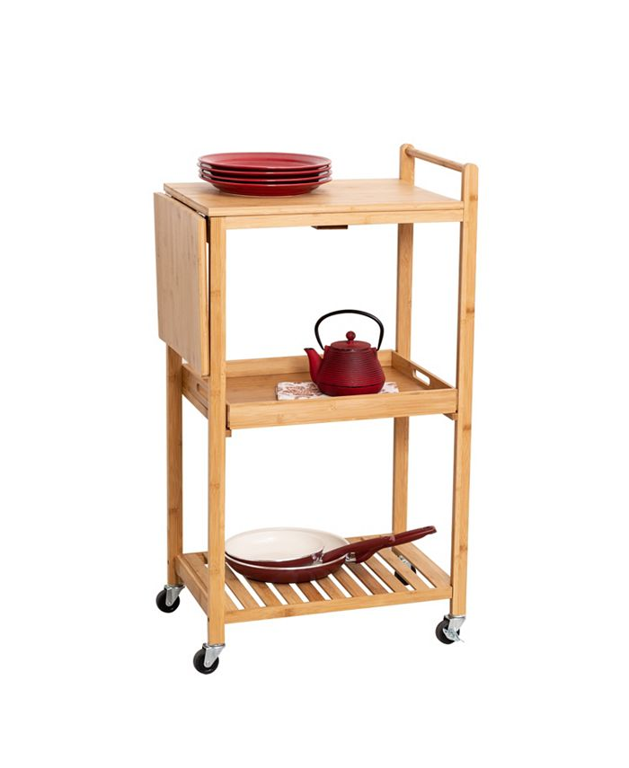 """Honey Can Do - 38"""" Bamboo Rolling Kitchen Cart"""
