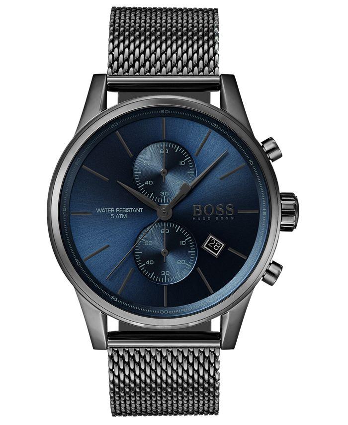 BOSS - Men's Chronograph Jet Gray Stainless Steel Mesh Bracelet Watch 41mm