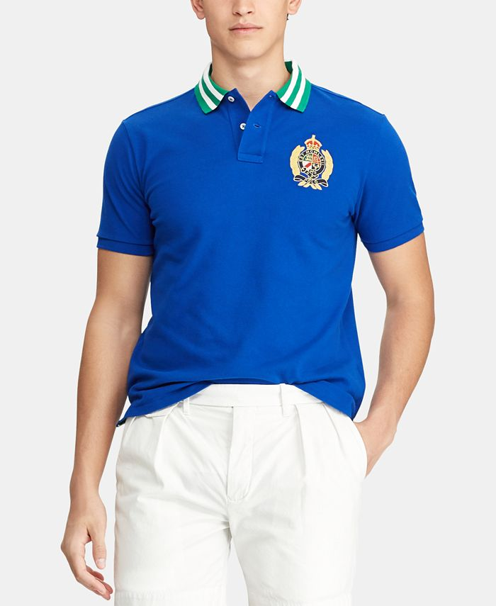 Polo Ralph Lauren Men's Custom Slim Fit Crest Mesh Polo Shirt ...