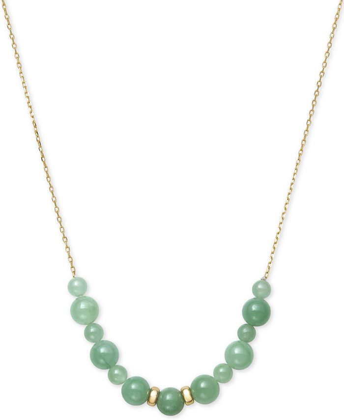 """Macy's - Dyed Jade Beaded 18"""" Necklace in 14k Gold"""