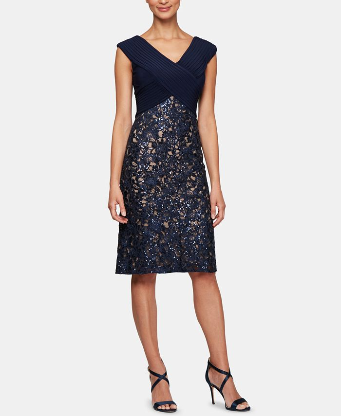 Alex Evenings - Sequinned-Lace Sheath Dress