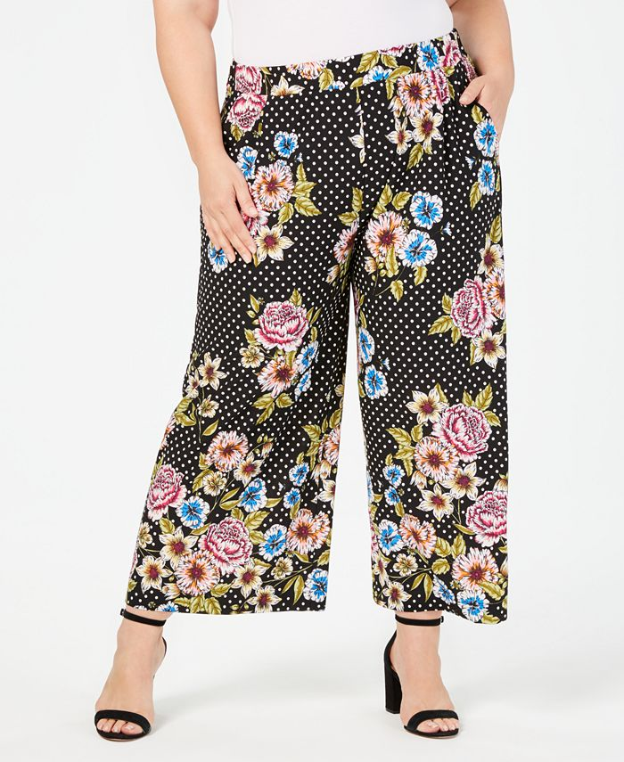 John Paul Richard - Plus Size Printed Wide-Leg Pants