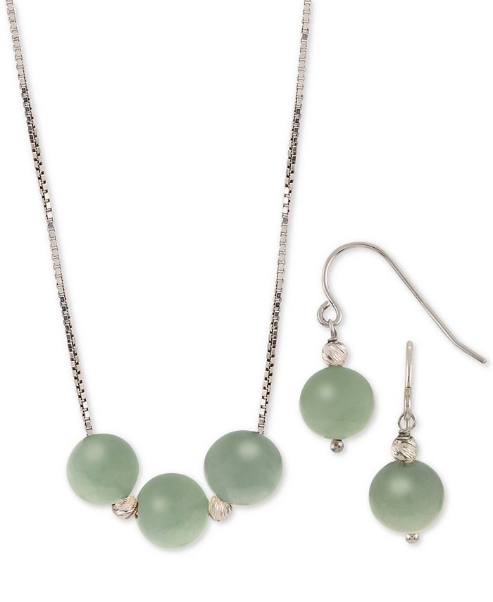 Macy's - 2-Pc. Set Dyed Jade (8mm) Statement Necklace & Drop Earrings in Sterling Silver