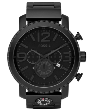 Fossil Watch, Men's Chronograph Gage Black Plated Stainless Steel Bracelet 50mm JR1303