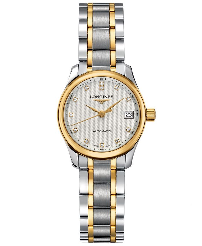 Longines - Watch, Women's Swiss Automatic Master Diamond Accent 18k Gold and Stainless Steel Bracelet 26mm L21285777