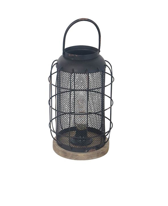 Rosemary Lane Industrial Iron, Wood and Glass Lantern