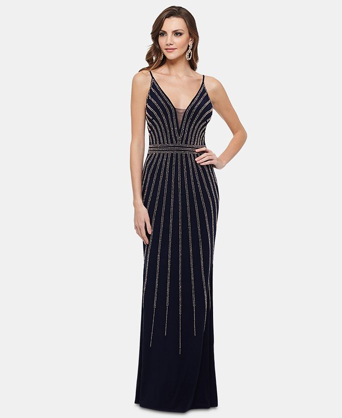 XSCAPE - Beaded V-Neck Gown