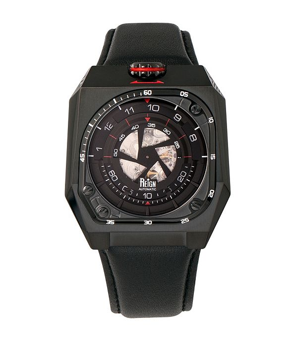 Reign Asher Automatic Genuine Black Leather Watch 47mm