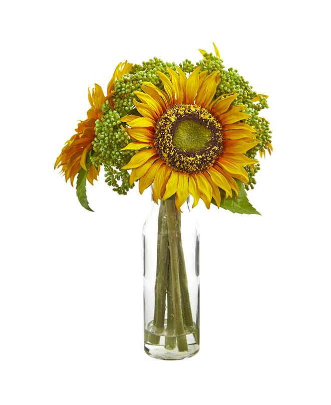 """Nearly Natural 12"""" Sunflower Artificial Arrangement in Vase"""