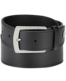 Lacoste Men's Logo Buckle Leather Belt