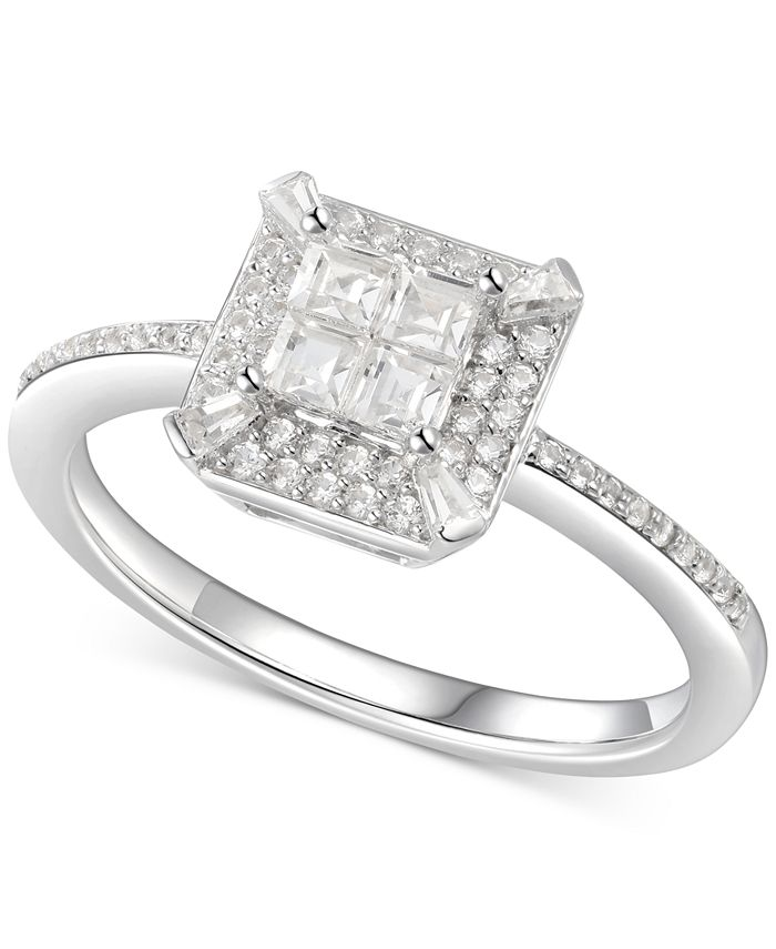 Macy's - Cubic Zirconia Square Cluster Halo Ring in Sterling Silver