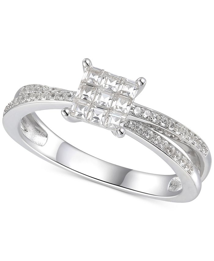Macy's - Cubic Zirconia Square Cluster Split Shank Ring in Sterling Silver