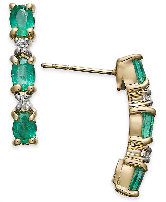 Macy's - Emerald (1-1/5 ct. t.w.) & Diamond Accent Curved Bar Stud Earrings in 14k Gold