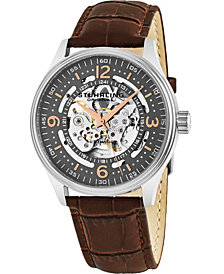 Stuhrling Stainless Steel Case on Brown Alligator Embossed Genuine Leather Strap, Gray Skeletonized Dial, with Rose Tone and White Accents