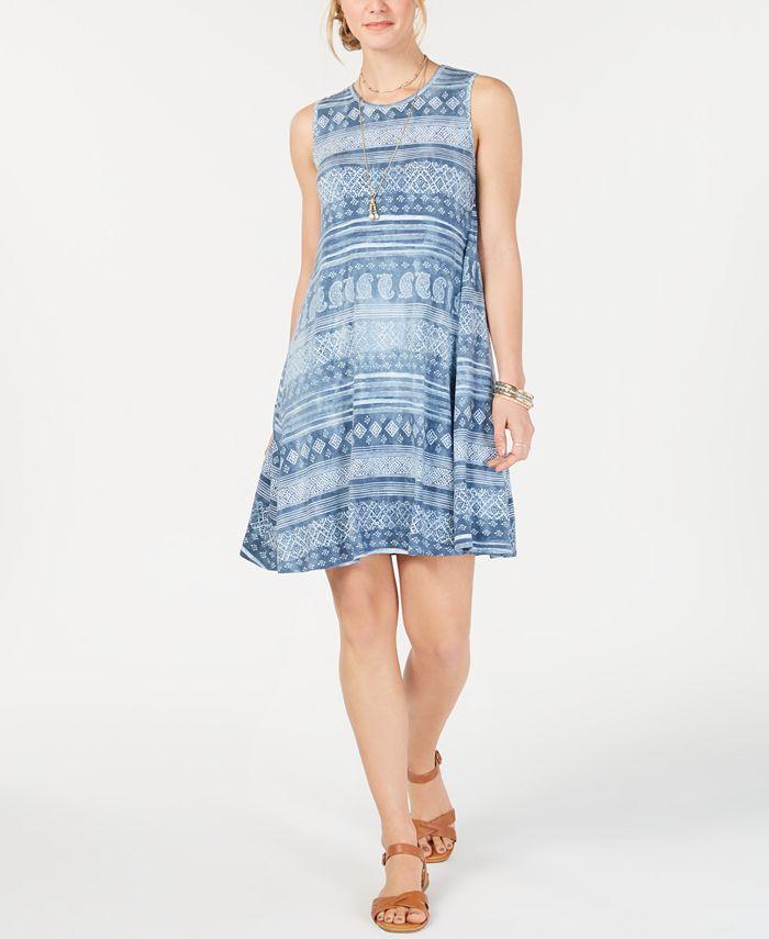 Style & Co - Printed Sleeveless Swing Dress