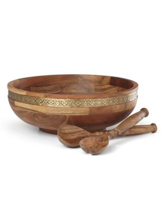 Global Tapestry Wood Salad Bowl with Servers