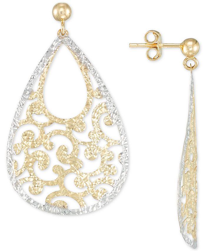 Italian Gold - Filigree Drop Earrings in 14k Gold & 14k White Gold