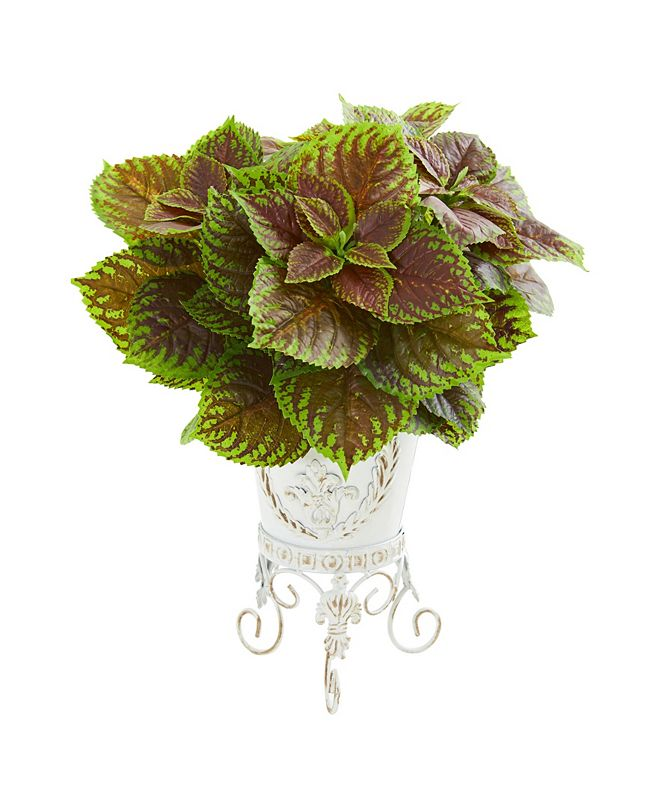Nearly Natural Coleus Artificial Plant in White Planter (Real Touch)