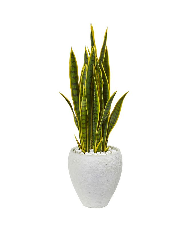 """Nearly Natural 33"""" Sansevieria Artificial Plant in White Planter"""