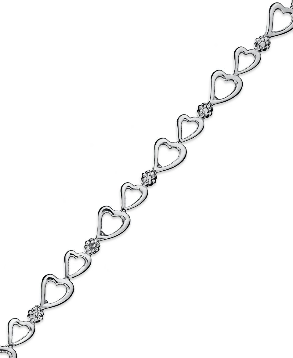 Victoria Townsend Sterling Silver Bracelet, Diamond Accent Heart Link