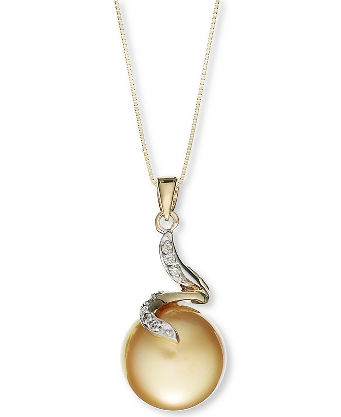 Macy's - 14k Gold Necklace, Cultured Golden South Sea Pearl (12mm) and Diamond Accent Pendant