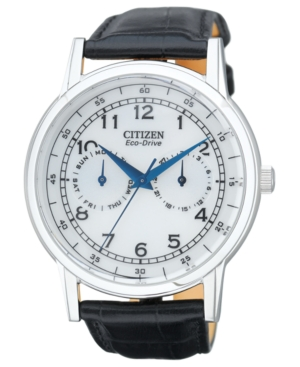 Citizen Men's Eco-Drive Black Leather Strap Watch 42mm AO9000-06B