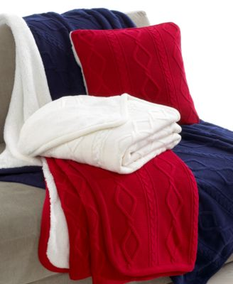 Martha Stewart Collection Bedding, Reversible Cable Knit Throw