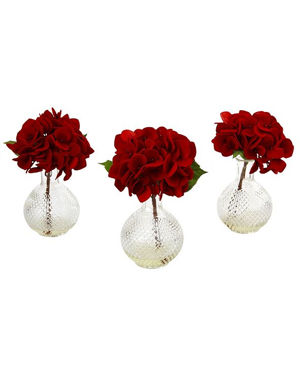 Nearly Natural Red Hydrangea w/Glass Vase, Set of 3