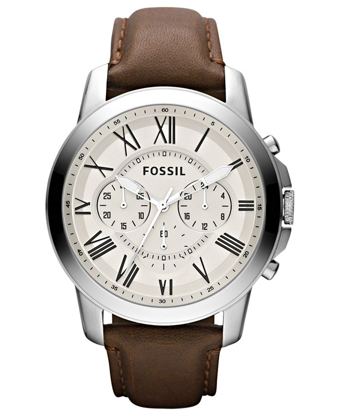 Fossil - Men's Chronograph Grant Brown Leather Strap Watch 44mm FS4735