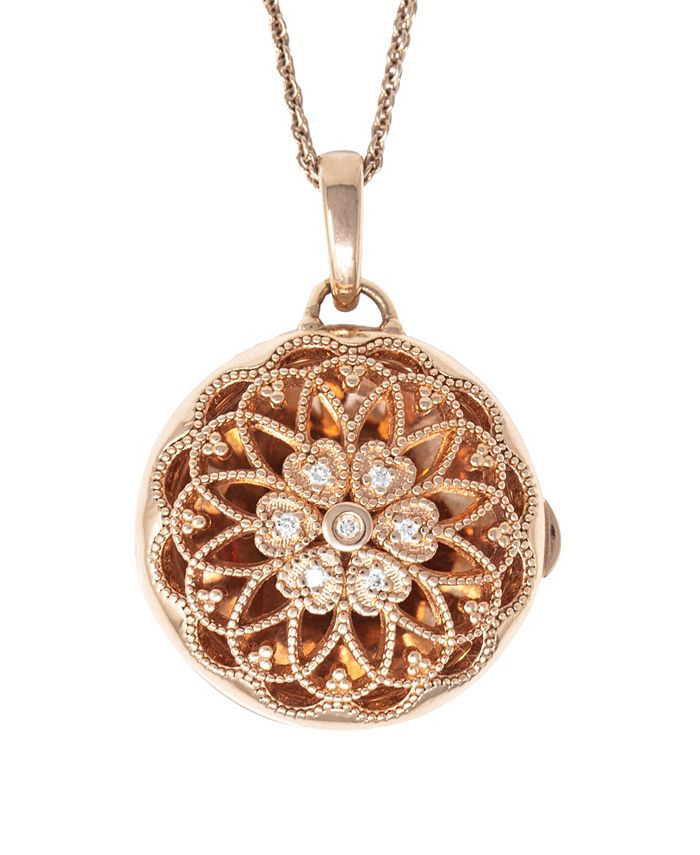 With You Lockets - Photo Locket Necklace with Diamond Accent in 14k Rose Gold over Sterling Silver