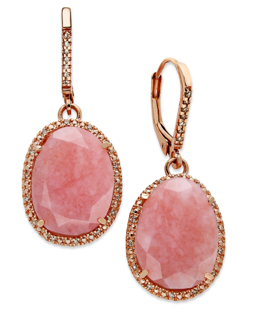 14k Rose Gold over Sterling Silver Earrings, Pink Opal (9 1/5 ct. t.w.) and Diamond (1/6 ct. t.w.) Earrings   Earrings   Jewelry & Watches