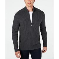 Alfani Mens Ribbed Full-Zip Sweater, Classic Fit