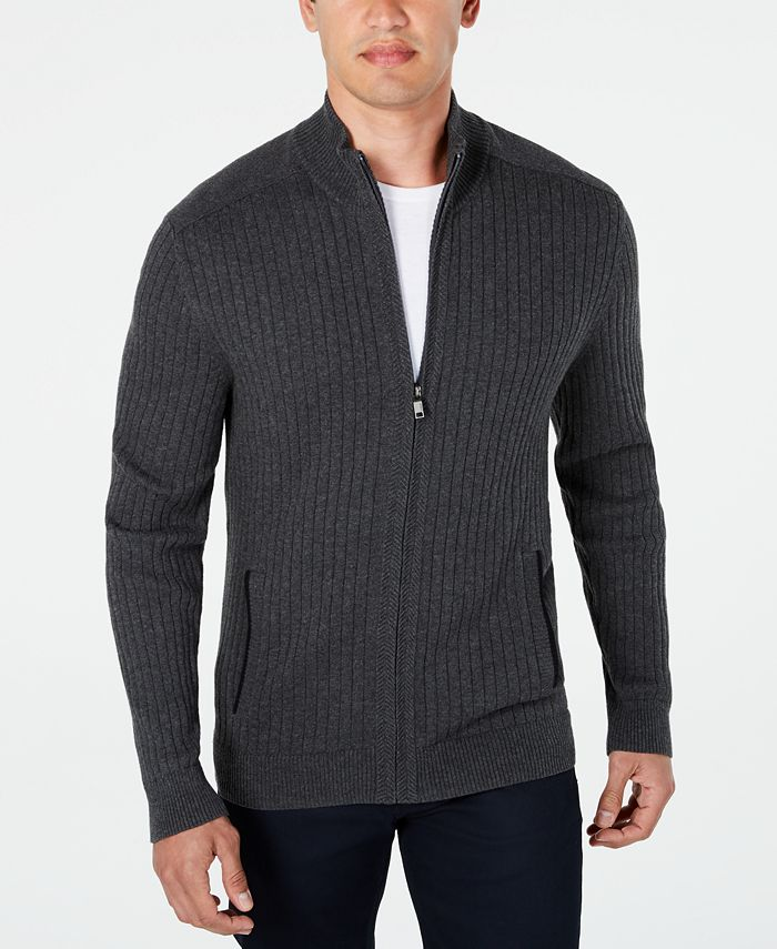 Alfani Men's Classic Fit Ribbed Full-Zip Sweater