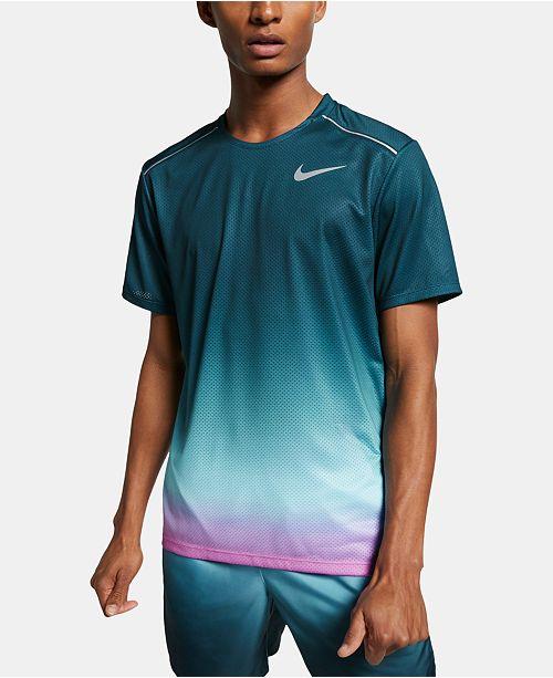Nike Men's Miler Dri-FIT Ombré T-Shirt & Reviews - Casual ...