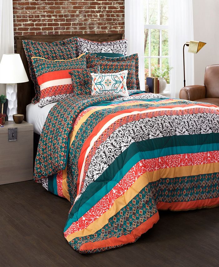 Lush Décor - Boho Stripe Comforters Turquoise/ Tangerine 7 Piece Set Full/ Queen
