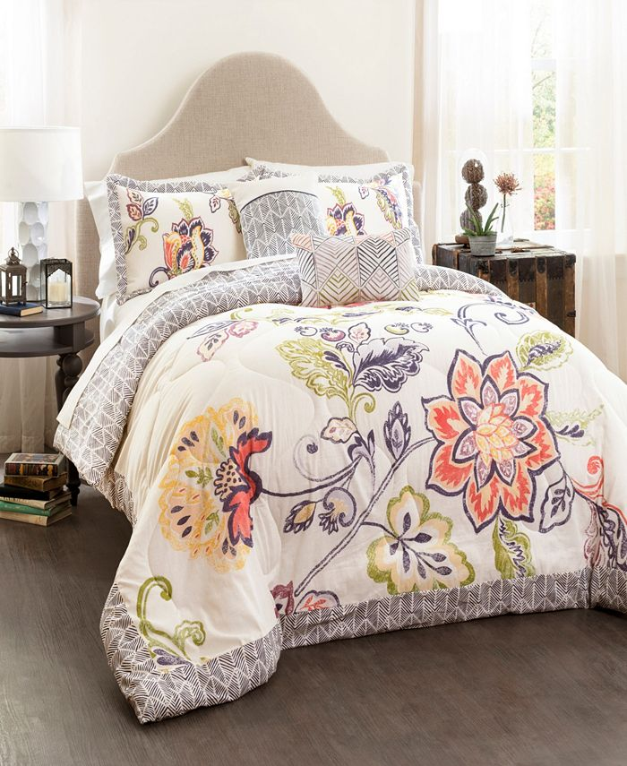 Lush Décor - Aster Quilted Comforter Coral/Navy 5Pc Set Full/ Queen